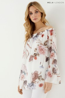 Mela London Printed Bardot Top