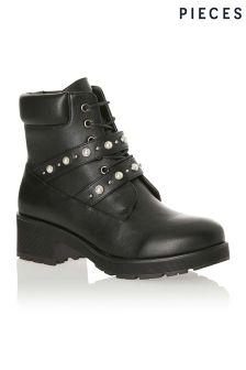 Pieces Lace Up Ankle Boots
