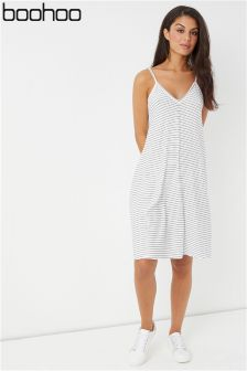 Boohoo Tie Shoulder Stripe Swing Dress