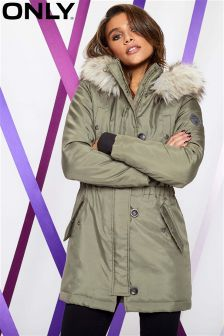 Only Parka Faux Fur Hood Parka Coat