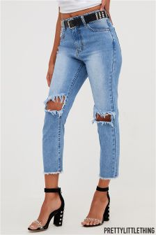 PrettyLittleThing Mid Wash Slim Fit Jeans
