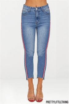 PrettyLittleThing Mid Wash Distressed Hem Slim Fit Jeans