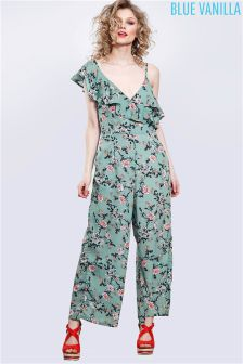 Blue Vanilla Floral Print One Shoulder Culotte Jumpsuit