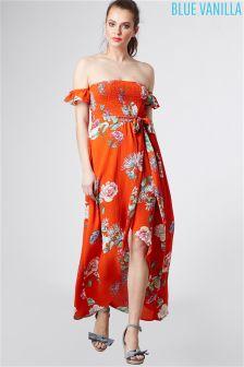 58bebd7beb Blue Vanilla Floral Print Bardot Wrap Maxi Dress