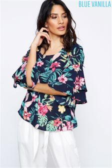 Blue Vanilla Floral Print Flare Sleeve Blouse