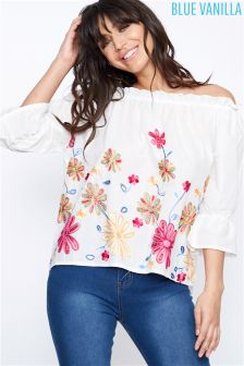 Blue Vanilla Floral Embroidered Bardot Crop Top