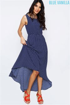 Blue Vanilla Polka Dot Dip Hem Maxi Dress
