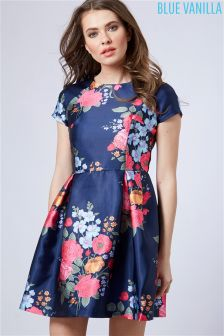 Blue Vanilla Floral Print Prom Dress