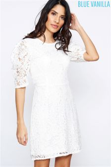 Blue Vanilla Lace Short Sleeve Shift Dress