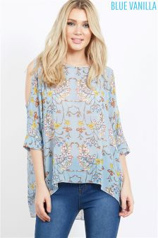 Blue Vanilla Floral Print Cold Shoulder Top