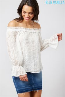 Blue Vanilla Embroidered Lace Bardot Top