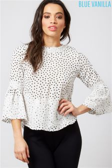 Blue Vanilla Polka Dot Lace Overlay Bell Sleeves Top