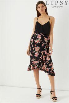Lipsy Floral Wrap Ruffle Midi Skirt