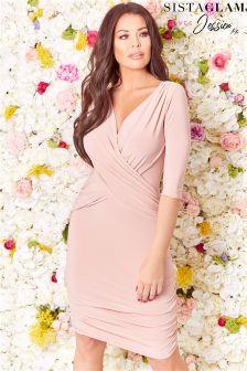 Sistaglam Loves Jessica Wrap Bodycon Dress