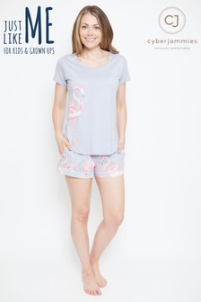 Cyberjammies Flamingo Print T-Shirt Shorts Pyjama Set