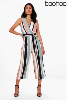 Boohoo Striped Tie Belt Culotte Jumpsuit