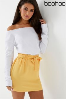 Boohoo Paperbag Tie Waist Mini Skirt