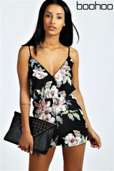 Boohoo Floral Strappy Playsuit