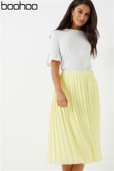 Boohoo Crepe Pleated Midi Skirt