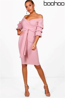 Boohoo Off Shoulder Sleeves Midi Dress