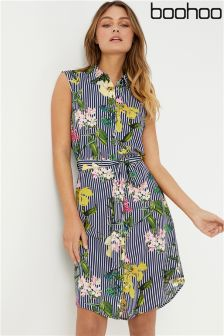 Boohoo Stripe Floral Sleeveless Shirt Dress