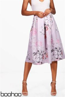 Boohoo Floral Box Pleat Midi Skirt