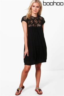 Boohoo Lace Top Shift Dress