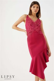 Lipsy Tall Appliqué Asymmetric Cami Dress