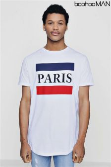 Boohoo Man Paris Print Curve Hem T-Shirt