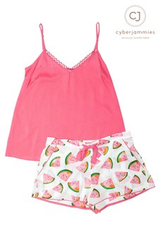 Cyberjammies Strappy Cami And Watermelon Print Shorts