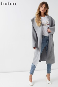 Boohoo Hooded Wool Look Belted Coat