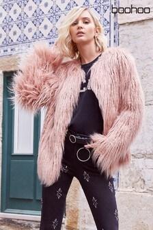 Boohoo Faux Fur Mongolian Coat
