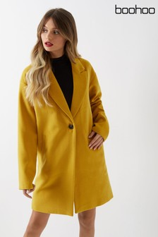 Boohoo Wool Look Coat Button Detail