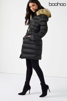 Boohoo Belted Satin Quilted Coat