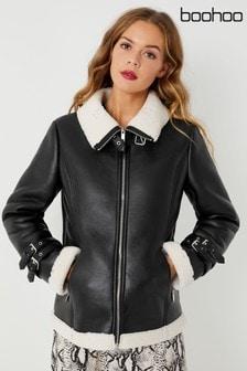 Boohoo Longline Faux Fur Aviator Jacket