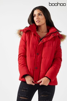 Boohoo Faux Fur Technical Padded Jacket