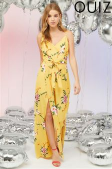 Quiz Floral Print Wide Leg Split Detail Jumpsuit
