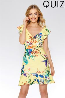 Quiz Floral Print Frill Detail Dress