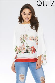 Quiz Floral And Stripe Print Necklace Top