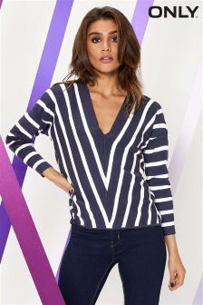 Only Striped V neck Jumper