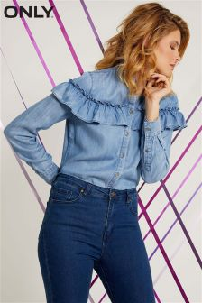 Only Long Sleeve Frill Denim Shirt