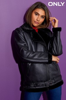 Only Dia Faux Leather Bonded Biker Jacket