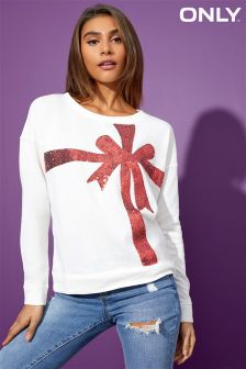 Only Christmas Shimmer O Neck Box Sweatshirt