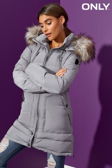 Only Detachable Faux Fur Trim Hood Down Filled Padded Coat
