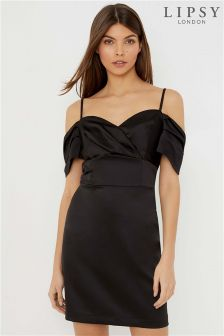 Lipsy Petite Cold Shoulder Satin Bodycon Dress