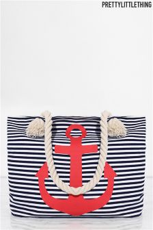PrettyLittleThing Striped Anchor Beach Bag