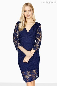Paper Dolls Long Sleeve Lace Navy Bodycon Dress