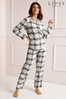סט מכנסיים וחולצת פיג'מה עם משבצות של Lipsy