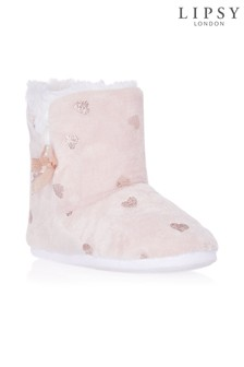 Lipsy Foil Heart Slipper Boots