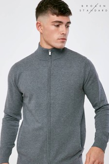 Broken Standard Full Zip Knitted Jumper